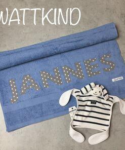 Handtuch mit Namen rauchblau