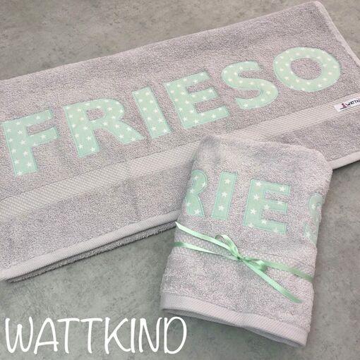 Handtuch mit Namen grau